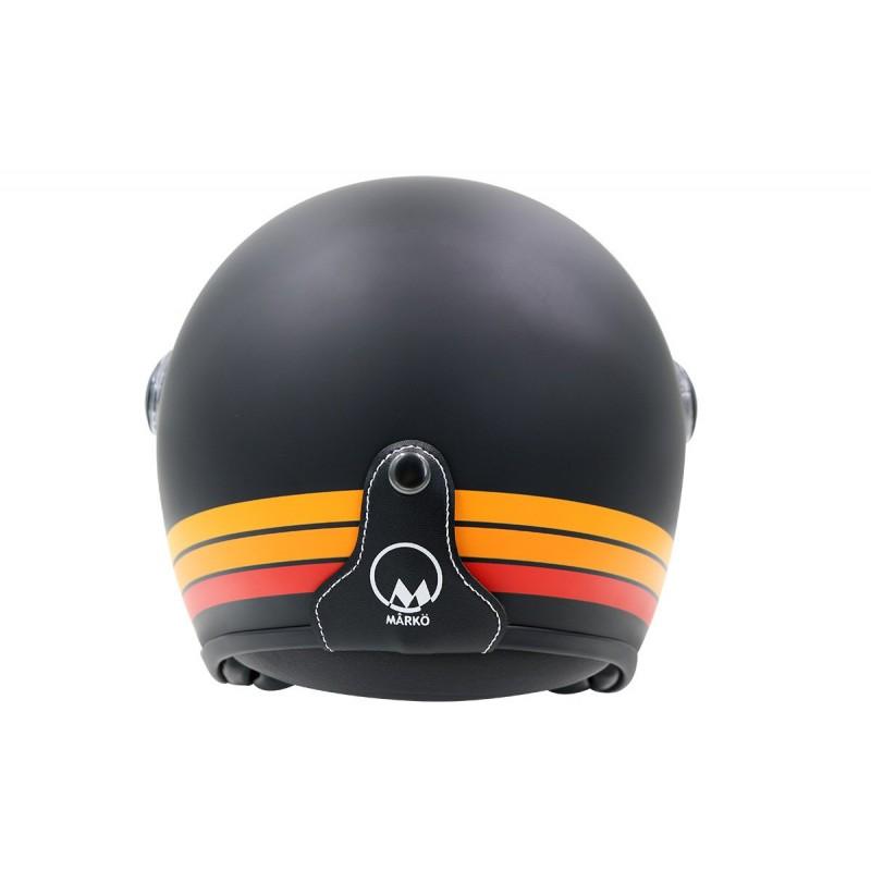 Casque Jet MÂRKÖ Boreal Noir mat à bandes Orange