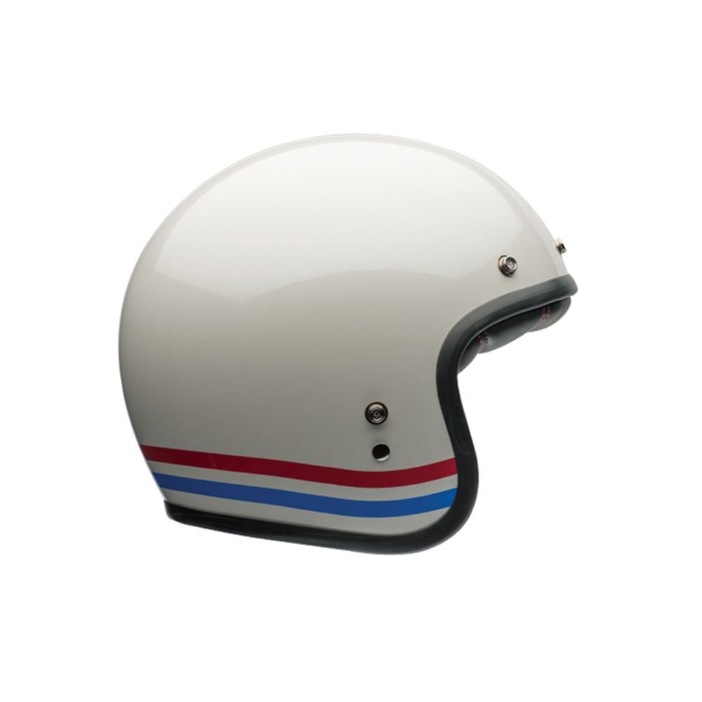casque moto jet homme bell custom 500 stripes pearl. Black Bedroom Furniture Sets. Home Design Ideas