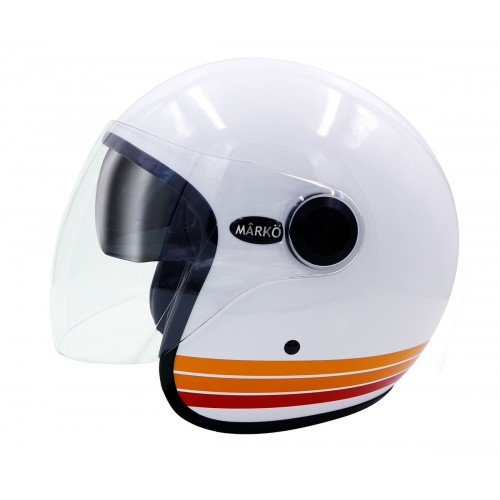 Casque Jet MÂRKÖ Boreal Blanc à bandes Orange