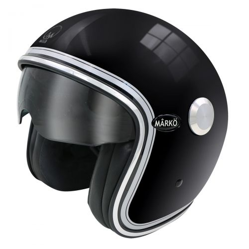 CASQUE MOTO JET BOREAL NOIR BRILLANT/CHROME - MARKO