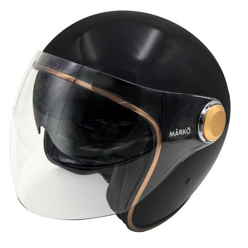 Casque Moto Jet BOREAL -MÂRKÖ (Black/Gold)