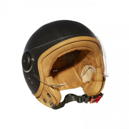 Casque Moto Jet ELEMENTS LEATHER -MÂRKÖ (Noir)