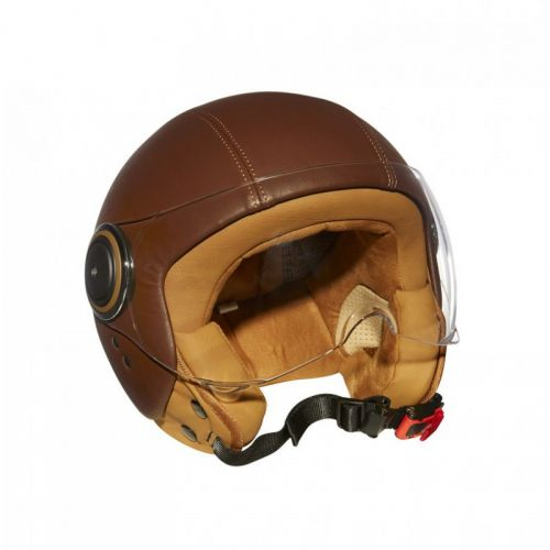 Casque Moto Jet ELEMENTS LEATHER -MÂRKÖ (Marron)