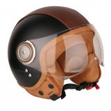 Casque Moto Jet ELEMENTS STRIPES -MÂRKÖ (Noir-Matt/Marron)