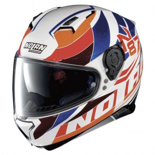 Casque Moto Intégral NOLAN - N87 Plein Air n-Com Metal White/orange