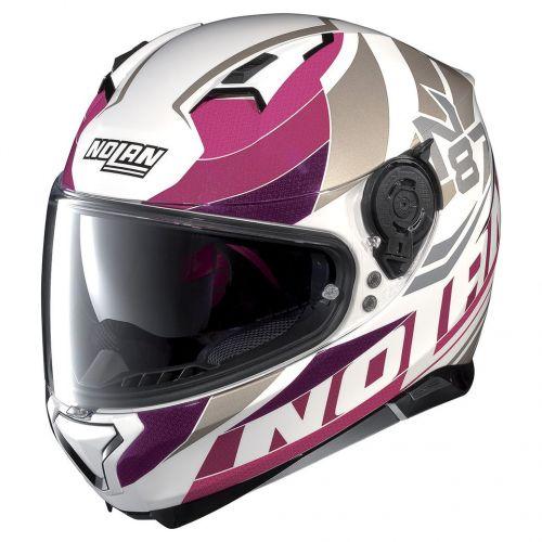 Casque Moto Intégral NOLAN - N87 Plein Air n-Com Metal White/pink