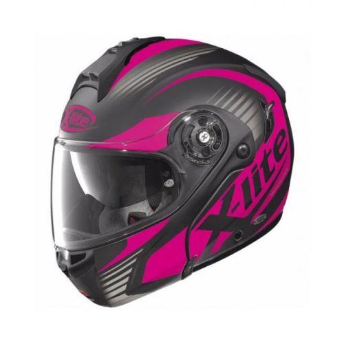 Casque Moto Modulable NOLAN - X1004 Nordhelle n-Com Flat Black/pink